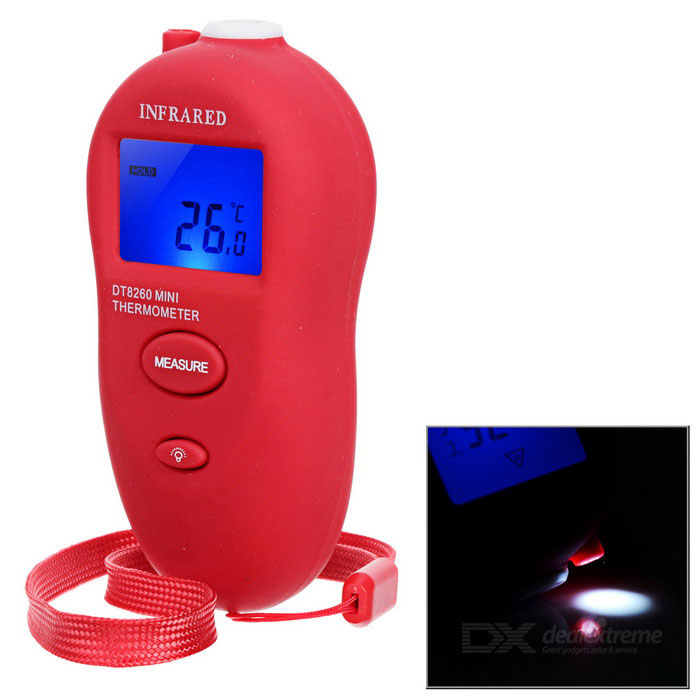 DT8260 Non-Contact Infrared Thermometer - RedTemperature Instruments<br>Form  ColorRedModelDT8260Quantity1 DX.PCM.Model.AttributeModel.UnitMaterialABSScreen Size1.25 DX.PCM.Model.AttributeModel.UnitCelsius Range-50~260?CFahrenheit Range-58~500 DX.PCM.Model.AttributeModel.UnitBacklightYesAuto Power OffYesPowered ByAAA BatteryBattery Number2Battery included or notYesPacking List1 * IR Thermometer(16cm-strap)1 * Chinese / English manual<br>