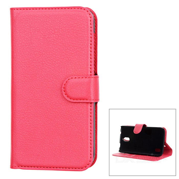 Lychee Pattern Protective PU Case for Huawei Y625 - Watermelon Red