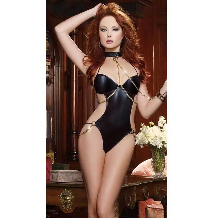 great prices special sales designer fashion Faux Patent Leather Piece Suit Sexy Leather Lingerie - Black