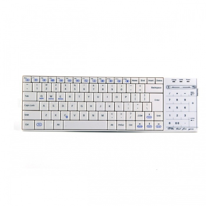 Bluetooth V3.0 83-Key Computer Keyboard w/ Touchpad - White