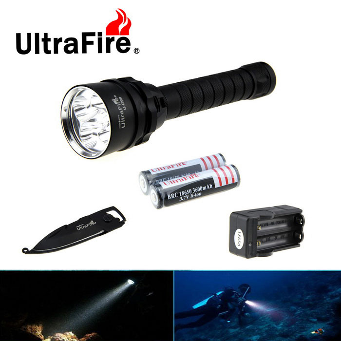Ultrafire 5-XM-L2 3-Mode Diving Flashlight w/ Keychain Knife - Black