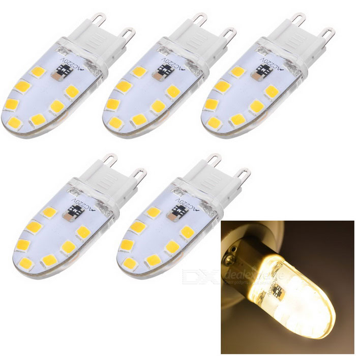 JRLED Dimmable G9 3W Flat LED Silicone Bulb Warm White (AC 220V/5PCS)