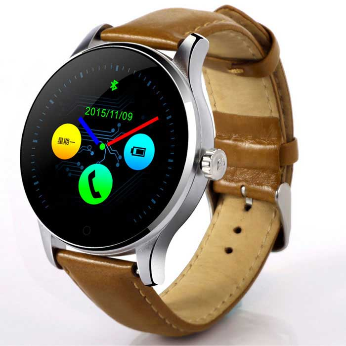 Eastor K88H Round Screen Leather Strap IP54 Smart Watch - BrownSmart Watches<br>Form  ColorBrown Leather BandModelK88HQuantity1 DX.PCM.Model.AttributeModel.UnitMaterialIPS screen + metal + leatherCPU ProcessorMTK-2502CBluetooth VersionBluetooth V4.0Touch Screen TypeCapacitive ScreenOperating SystemAndroid 4.3.1,Android 4.4,Android 4.4.1,Android 4.4.2,Android 4.3,iOSCompatible OSSupport Above of IOS 7 And Above of Androld4.3Water-proofOthers,IP54Battery Capacity300 DX.PCM.Model.AttributeModel.UnitBattery TypeLi-polymer batteryStandby Time3 DX.PCM.Model.AttributeModel.UnitCertificationCE, RoHSOther Features1.  LCD: IPS 1.22inch Round screen<br>2. Speaker :1511 ACC Speaker<br>3. Solution: 240 * 204<br>4. MicScreen Size1.22 DX.PCM.Model.AttributeModel.UnitScreen Resolution240 * 204LanguageN/AWristband Length22 DX.PCM.Model.AttributeModel.UnitBattery ModeReplacementPacking List1 * Smart watch1 * Magnet Pogo pin cable(L:61cm)1 * English user manual<br>