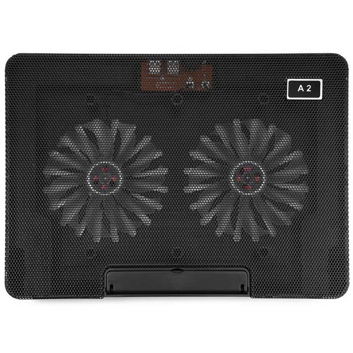 A2 Movable Double Fan 1200RPM Computer Cooling Radiator - Black