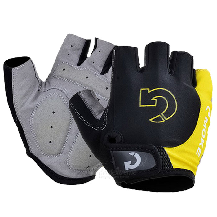 Moke Half-Finger Gloves for Cycling - Black + Yellow (L / Pair)Gloves<br>Form  ColorBlack + Yellow + Multi-ColoredSizeLQuantity1 DX.PCM.Model.AttributeModel.UnitMaterialLycraTypeHalf-Finger GlovesSuitable forAdultsGenderUnisexPalm Girth8~9 DX.PCM.Model.AttributeModel.UnitGlove Length9 DX.PCM.Model.AttributeModel.UnitBest UseCycling,Mountain Cycling,Recreational Cycling,Road Cycling,Bike commuting &amp; touringCertificationCEPacking List2 * Gloves<br>