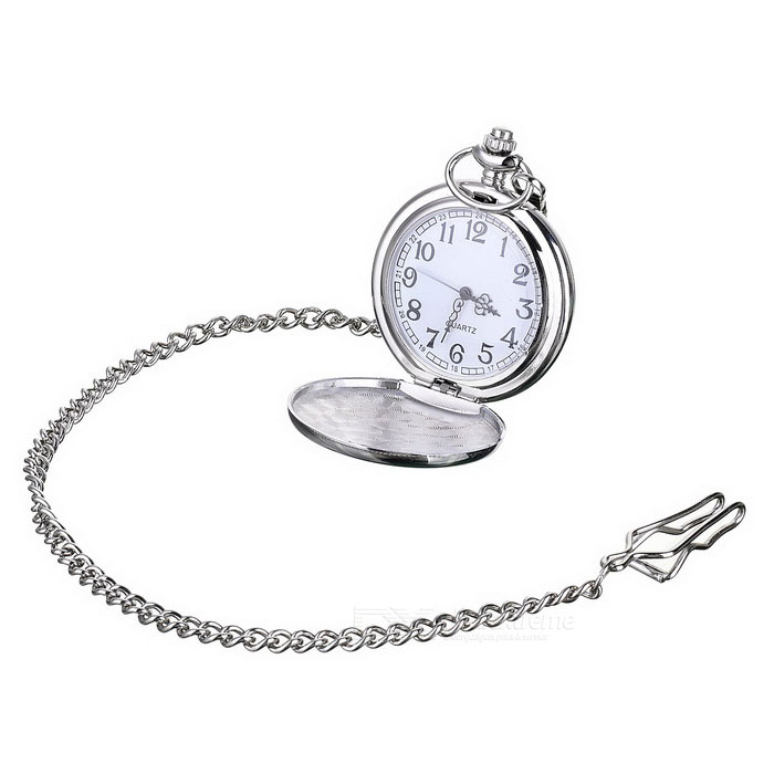 Buy Flip Open Quartz Pocket Watch w/ Waist Chain - Silver + White(1 * 377) with Litecoins with Free Shipping on Gipsybee.com