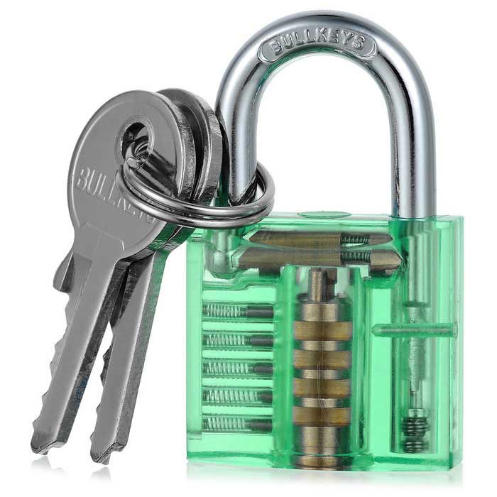 Mini Transparent Practice Padlock Lock Pick Locksmith Tools - Green