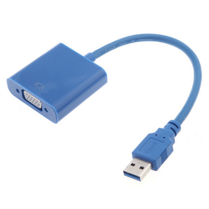 USB 3.0 to VGA Display Adapter - BlueAV Adapters And Converters<br>Form  ColorBlueMaterialABSQuantity1 DX.PCM.Model.AttributeModel.UnitShade Of ColorBlueCable Length15 DX.PCM.Model.AttributeModel.UnitConnectorUSB,VGAPower SupplyDC 5V 1.5APacking List1 * USB display adapter1 * CD driver<br>