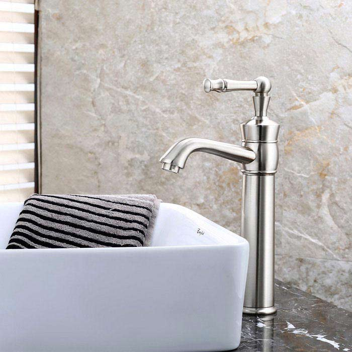 Fashion Single Handle One Hole Nickel Brushed Bathroom Sink FaucetBath Faucets<br>Form  ColorAntique SilveryModelF-0747MaterialBrass + Zinc AlloyQuantity1 DX.PCM.Model.AttributeModel.UnitFinishBrushedFaucet Spout MaterialStainless SteelFaucet Body MaterialBrassFaucet Handle MaterialZinc AlloyStyleContemporaryOther Features- Installation type:Centerset,  <br>- With single hole,  <br>- one switch and ceramic valve;  <br>- Support cold / hot water switch;  <br>- Standard 1/2 thread; <br>- Water outlet length: 16cm; <br>- Water outlet height: 20cm.Packing List1 * Faucet2 * Hoses (50cm)1 * Sealing rings 1 * Screw nut<br>