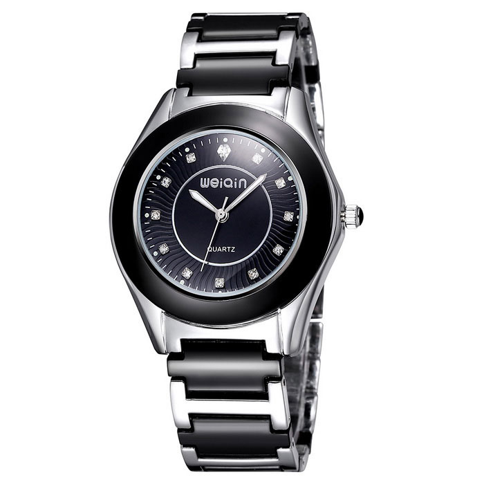WEIQIN 273505 Fashion Stainless Steel Case Wrist Watch - BlackQuartz Watches<br>Form  ColorBlack Belt black-faced 273505Model273505Quantity1 DX.PCM.Model.AttributeModel.UnitShade Of ColorBlackCasing MaterialStainless steelWristband MaterialAlloy ceramicSuitable forAdultsGenderWomenStyleWrist WatchTypeFashion watchesDisplayAnalogMovementQuartzDisplay Format12 hour formatWater ResistantFor daily wear. Suitable for everyday use. Wearable while water is being splashed but not under any pressure.Dial Diameter4 DX.PCM.Model.AttributeModel.UnitDial Thickness1.12 DX.PCM.Model.AttributeModel.UnitWristband Length21.3 DX.PCM.Model.AttributeModel.UnitBand Width2.02 DX.PCM.Model.AttributeModel.UnitBattery1 * S377Packing List1 * Watch<br>