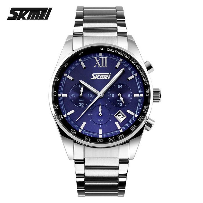 Buy SKMEI 9096 30m Waterproof 3 Dial Steel Belt Quartz Watch - Blue with Litecoins with Free Shipping on Gipsybee.com