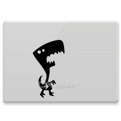 Hat-Prince Dinosaur Pattern Removable  Sticker for MacBook - Black