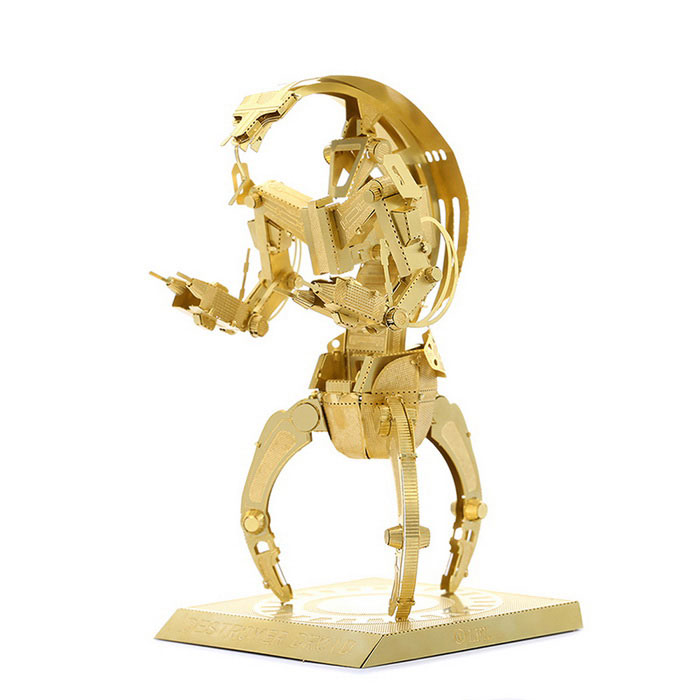 DIY 3D Puzzle Model Assembled Brass Destroyer Robot Toy - GoldenBlocks &amp; Jigsaw Toys<br>Form  ColorGolden YellowMaterialBrassQuantity1 DX.PCM.Model.AttributeModel.UnitNumber2Size4.2 * 4.2 * 7.8cmSuitable Age 3-4 years,5-7 years,8-11 years,12-15 years,Grown upsPacking List2 * Model  boards<br>