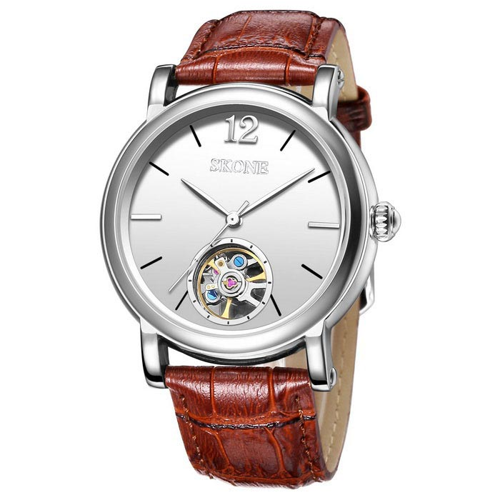 SKONE 394703 Mens Automatic Mechanical Wrist Watch - CoffeeMechanical Watches<br>Form  ColorCoffee 394703Model394703Quantity1 DX.PCM.Model.AttributeModel.UnitShade Of ColorBrownCasing MaterialAlloyWristband MaterialGenuine LeatherSuitable forAdultsGenderMenStyleWrist WatchTypeCasual watchesDisplayAnalogMovementMechanicalDisplay Format12 hour formatWater ResistantFor daily wear. Suitable for everyday use. Wearable while water is being splashed but not under any pressure.Dial Diameter4.21 DX.PCM.Model.AttributeModel.UnitDial Thickness1.48 DX.PCM.Model.AttributeModel.UnitWristband Length24.3 DX.PCM.Model.AttributeModel.UnitBand Width2.05 DX.PCM.Model.AttributeModel.UnitBattery1 * S377Packing List1 * Watch<br>