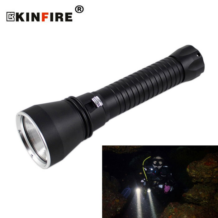 KINFIRE XHP-70 LED 2800lm dimming dykking lommelykt - svart