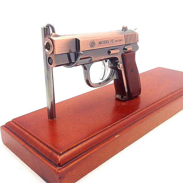 Buy Laser Toy Pistol Shape Butane Jet Lighter - Bronze + Brown with Litecoins with Free Shipping on Gipsybee.com