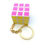 Refined Printing Color Plating Gold Key Chain w/ a Rubik's Cube