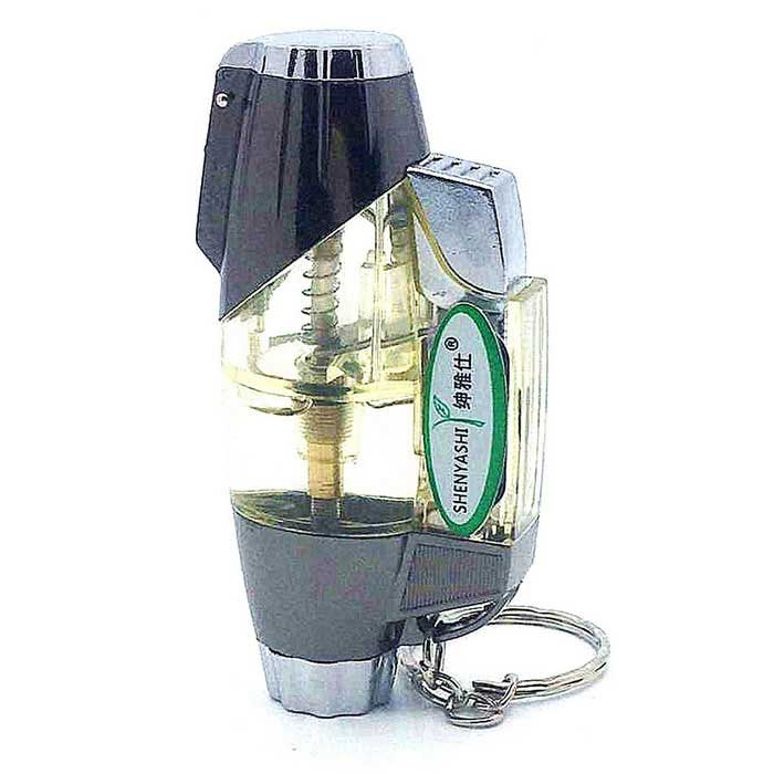 Buy SHENYASHI SYS0123 Olive Shaped Butane Gas Lighter - White + Grey with Litecoins with Free Shipping on Gipsybee.com