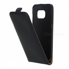 Up-Down Flip Open Protective PU Case for Samsung S7 EDGE - Black