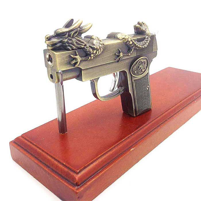 SHENYASHI SYS0126 Metal Toy Gun w/ Butane Gas Lighter - Bronze