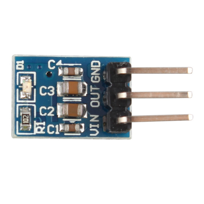 5V to 3.3V DC-DC Step-Down Power Supply Buck Module AMS1117 800mAPower Module<br>Form  ColorBlueModelN/AQuantity1 DX.PCM.Model.AttributeModel.UnitMaterialFR4Input Voltage4.2-10 DX.PCM.Model.AttributeModel.UnitOutput Voltage3.3 DX.PCM.Model.AttributeModel.UnitDownload Link   N/APacking List1 * Step-down module<br>