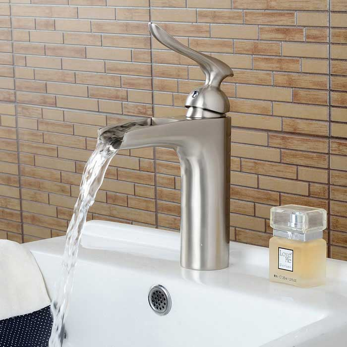 Nickel Brushed Personalized Waterfall Bathroom Sink Faucet - Silver ...