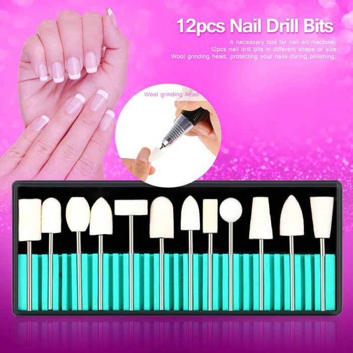 Profesjonell Nail Drill Bit Set for Nail Art Machine - Hvit + Sølv