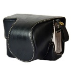 Stylish Crazy Horse Leather Camera Case for Sony A5100 / 5000 - Black