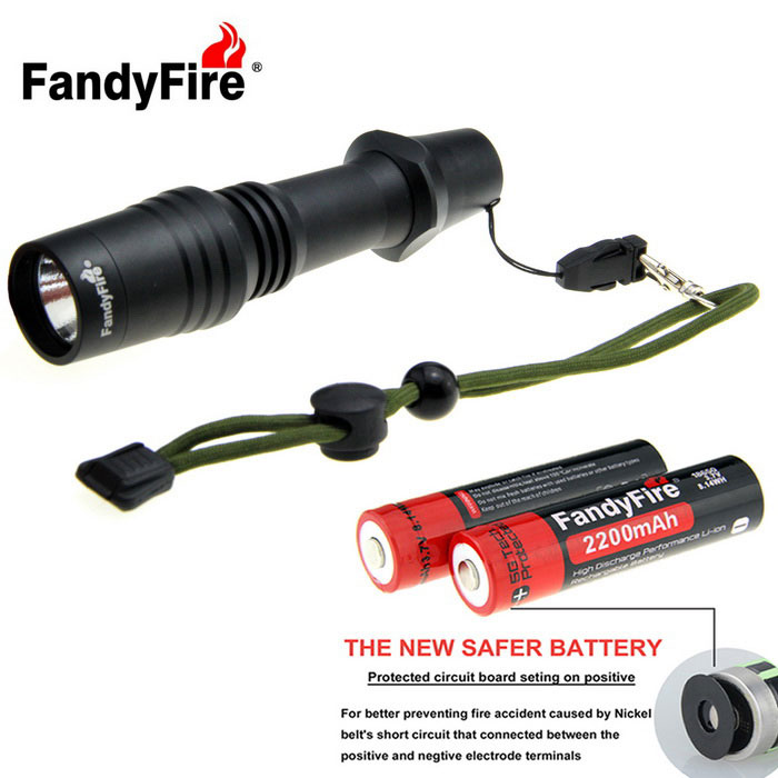 FandyFire 5-Mode Aluminum Textured Tactical Flashlight Kit - Black18650 Flashlights<br>Form  ColorBlackBrandOthers,FandyFireModel18650Quantity1 DX.PCM.Model.AttributeModel.UnitMaterialaluminumOther FeaturesWaterproof,Tactical,Others,Home OutdoorEmitter BrandOthers,N/ALED TypeXM-L2Emitter BINU2Number of Emitters1Color BINCold WhiteWorking Voltage   3.7~4.2 DX.PCM.Model.AttributeModel.UnitPower Supply1*18650Current2800 DX.PCM.Model.AttributeModel.UnitOutput(lumens)1-200Theoretical Lumens988 DX.PCM.Model.AttributeModel.UnitActual Lumens988 DX.PCM.Model.AttributeModel.UnitRuntime(hours)4.1 and aboveRuntime4-5 DX.PCM.Model.AttributeModel.UnitNumber of Modes5Mode ArrangementHi,Mid,Low,Fast Strobe,SOSMode MemoryNoSwitch TypeReverse clickySwitch LocationTailcapLensGlassReflectorAluminum TexturedBeam Range198 DX.PCM.Model.AttributeModel.UnitStrap/ClipStrap includedPacking List1 * Flashlight (equipped with 28cm hand rope)1 * FandyFire 18650 battery (2200mAh)1 * 18650 battery case1 * 18650 US Plug single charger (input: AC 100~240v 50 / 60Hz, output: DC4.2v / 650mA, line about 75cm)1 * Multifunction keychain knife (size: 7cm~11.5cm, blade length: 5cm, self-defense, bottle opener, hex screwdriver, fruit knife)<br>