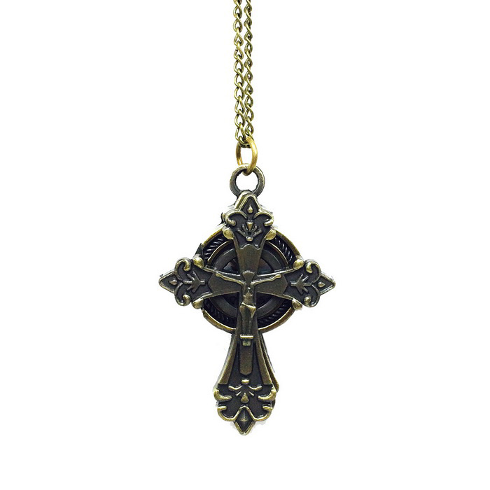Cross Style Zinc Alloy Quartz Necklace Pocket Watch - Bronze