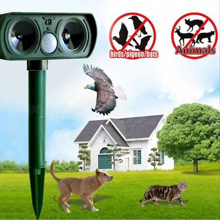 Dx coupon: 0.2W Solar Power Ultrasonic Wave PIR Pest Animal Repeller - Green