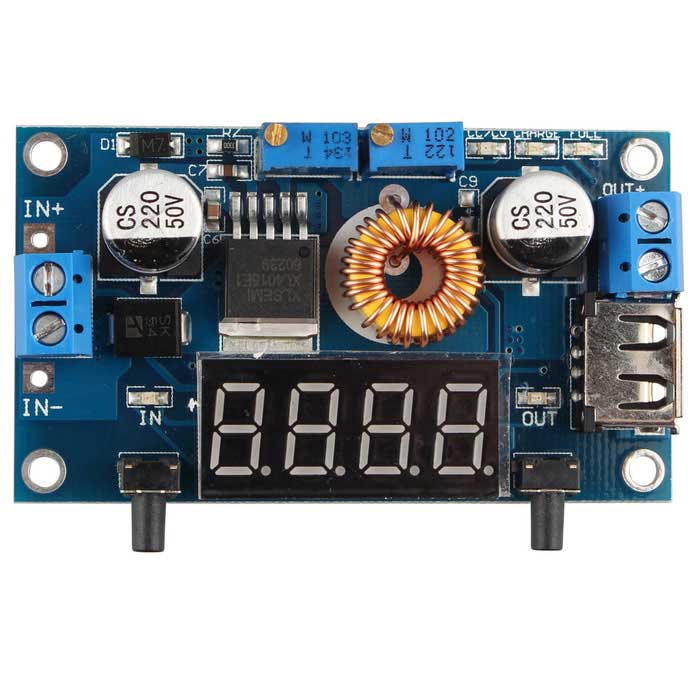 5A CC/CV USB Voltmeter LED Drive Step Down Lithium ChargerKits<br>Form ColorBlueModelN/AQuantity1 DX.PCM.Model.AttributeModel.UnitMaterialFR4English Manual / SpecYesDownload Link   http://pan.baidu.com/s/1pJL7XsJPacking List1 * Step down Lithium charger Power Module1 * Acrylic case<br>