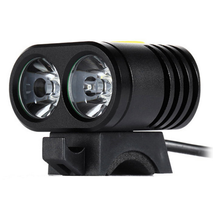 4-Mode 2-LED Neutral White Light Front Lamp for Bicycle - Black