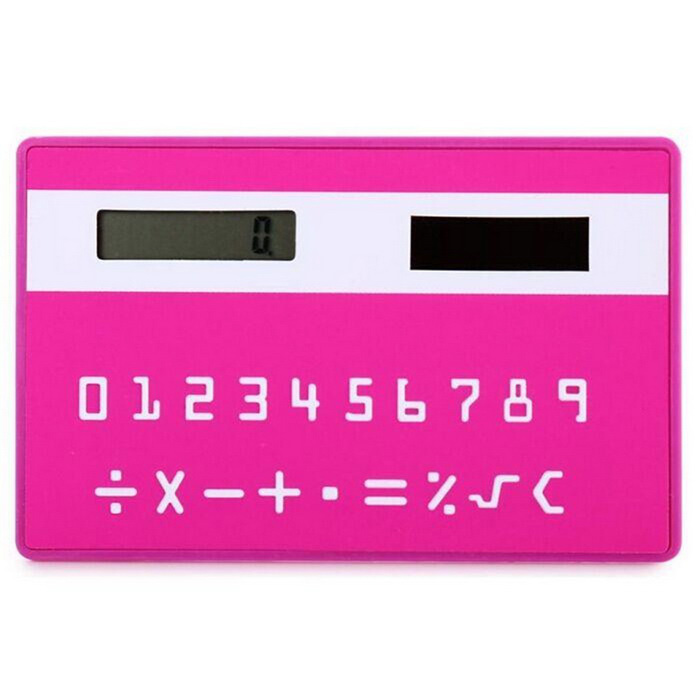 Solar Powered 1.0 LCD 8-Digit Ultra-Thin Pocket Card CalculatorCalculators<br>Form  ColorDeep PinkMaterialABSQuantity1 DX.PCM.Model.AttributeModel.UnitDigits8Screen Size1.0 DX.PCM.Model.AttributeModel.UnitBattery included or notYesBattery TypeSolarBattery Number1Packing List1 * Solar calculator<br>