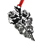 Stainless Steel Exquisite Hollow Roses Card Bookmark - Black