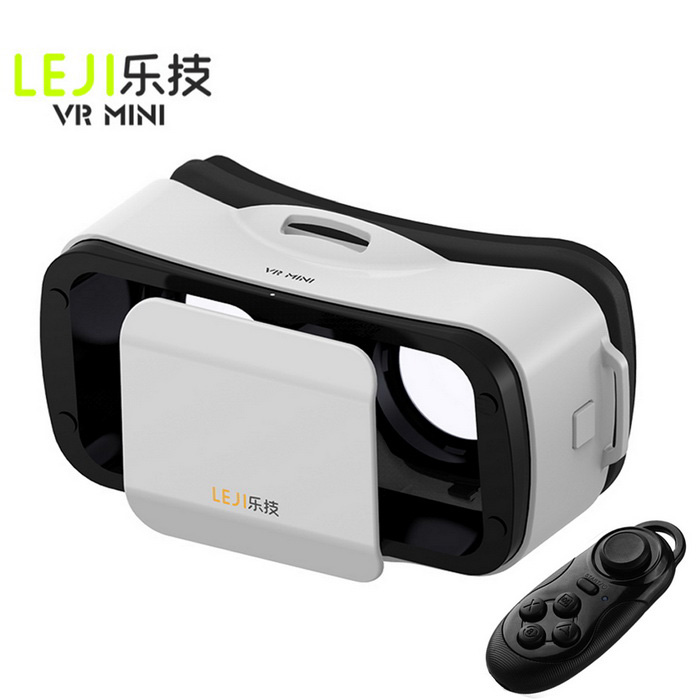 LEJI Mini VR 3D Google Glasses + Remote Control - White