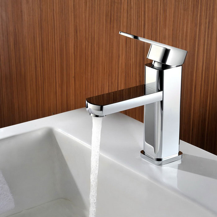 F-2811 Chrome Brass Simple Fashion Style Bathroom Faucet - Silver