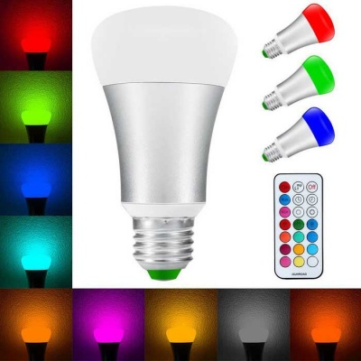 10W E27 RGB+W LED Bulb Color Changing Remote Control Light