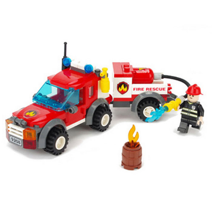 Fire Rescue Vehicle Style Assembly Plastic Building Blocks Toy - Black