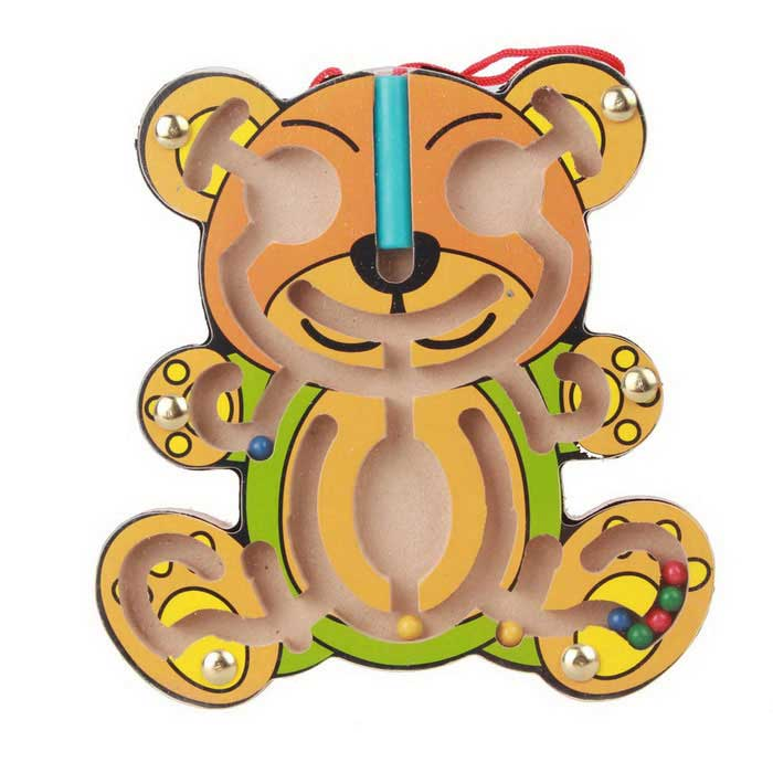 Bear pussel Magnetisk labyrint Walk Bead building block Leksak - Gul