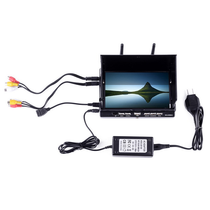 FPV RX-LCD58 7 LCD 5812 40CH Build in Battery HDMI LCD Screen - BlackOther Accessories for R/C Toys<br>Form  ColorBlackModelRX-LCD58MaterialDurable hard plasticQuantity1 DX.PCM.Model.AttributeModel.UnitCompatible ModelUniversalPacking List1 * LCD screen1 *  Charger1 * Plug converter5 * Connetion cable2 * Receiver antennas<br>