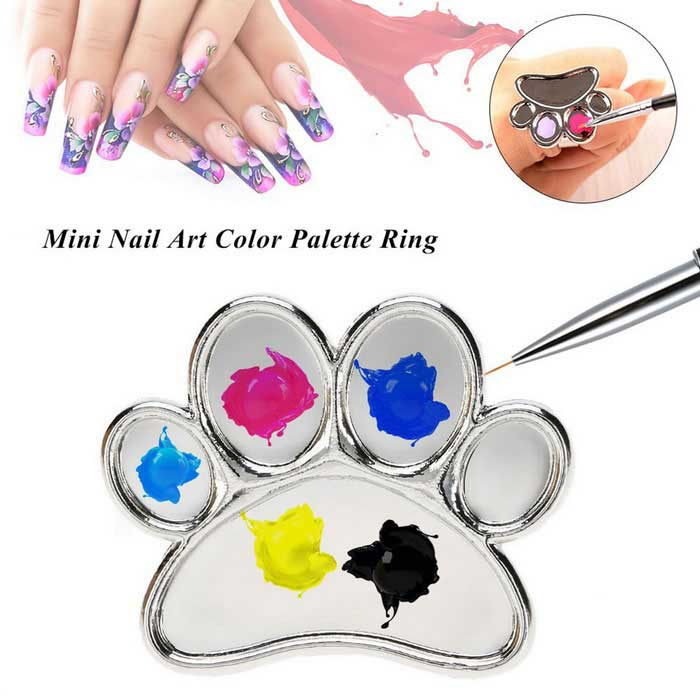 Mini Nail Care Color Palette - SilverNail Care and Art<br>Form  ColorSilverMaterialAlloyQuantity1 DX.PCM.Model.AttributeModel.UnitShade Of ColorSilverPacking List1 * Palette Ring<br>