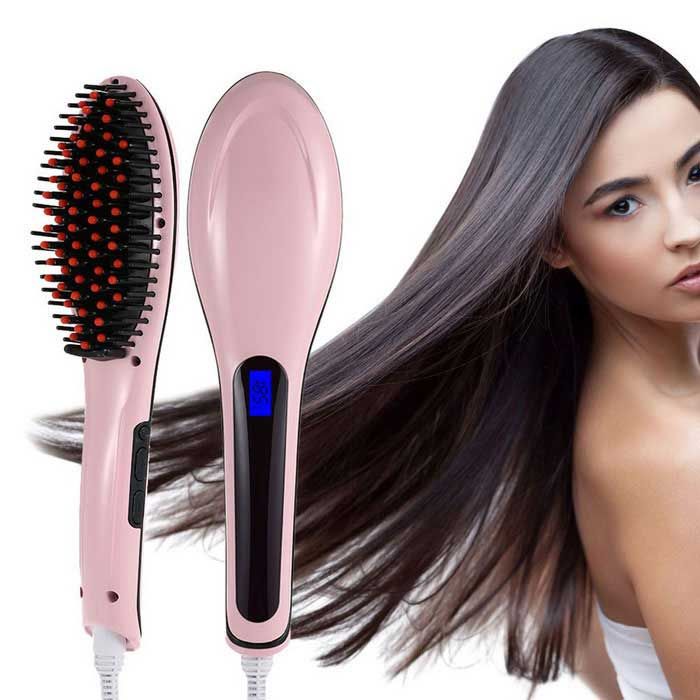 Professional Automatic Straightening Hair Comb w/ LCD - Pink + Black
