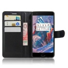 PU Leather Wallet Cases w/ Stand / Card Slots for Oneplus 3 - Black