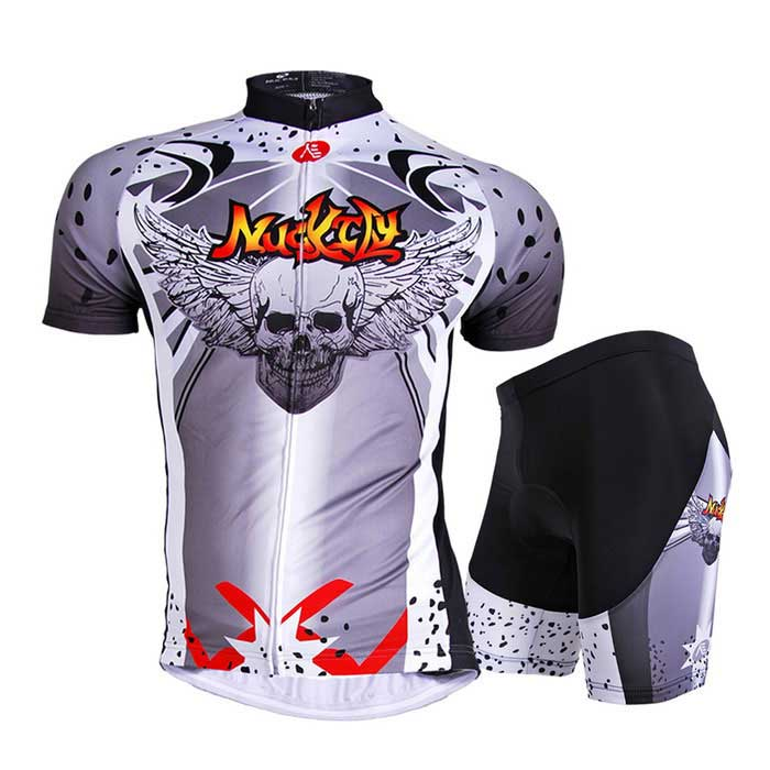 NUCKILY Men's Summer Cycling Jersey + Shorts Suit - Grey (3XL)