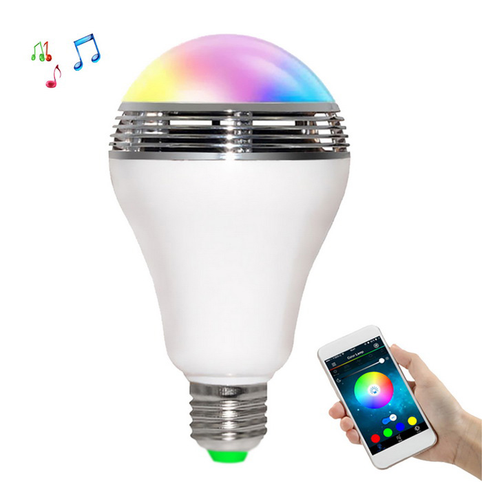 JIAWEN E27 LED RGBW Light Music Bulb Lamp Wi-Fi App Control Speaker