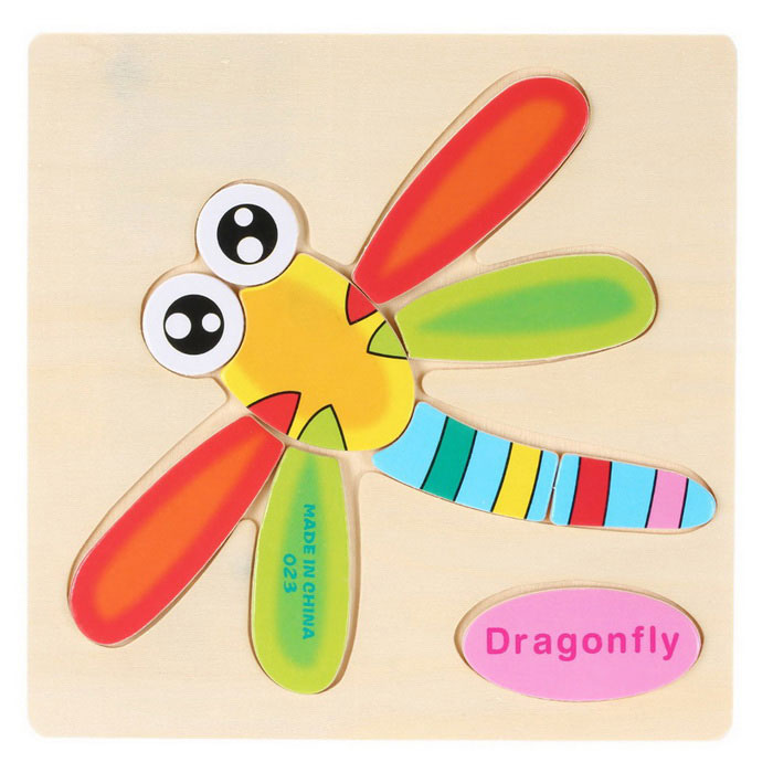 Dragonfly Shaped palapeli Puupalikat Cartoon lelu - keltainen