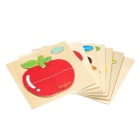 Apple Shaped Puzzle tre blokker Cartoon Toy - Gul