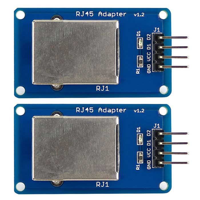 RJ45 Connector Adapter Module for Long Distance Communication (2PCS)Boards &amp; Shields<br>Form ColorBlue + SilverModelN/AQuantity1 DX.PCM.Model.AttributeModel.UnitMaterialPCB+Alloy+PlasticEnglish Manual / SpecYesDownload Link   https://drive.google.com/folderview?id=0B6uNNXJ2z4CxNk9CU3lmM3dSaVE&amp;usp=sharingPacking List2 * RJ45 Adapter module<br>