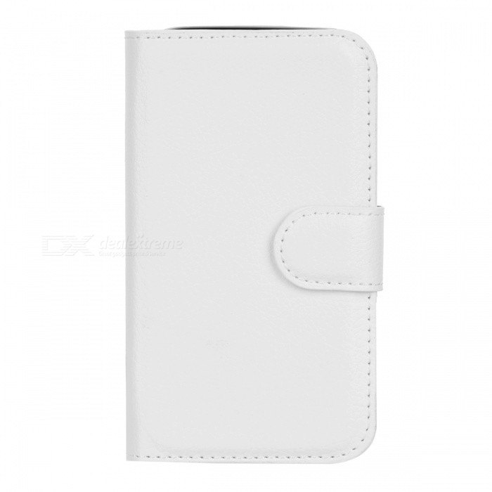 Lychee Pattern Flip-Open Case for Samsung Galaxy Ace 4 G313H - White